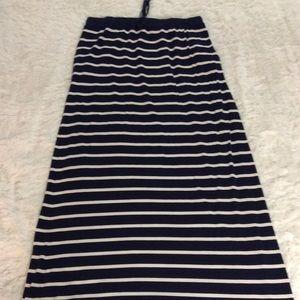 Max Studio Maxi Skirt Navy Blue & White Striped S